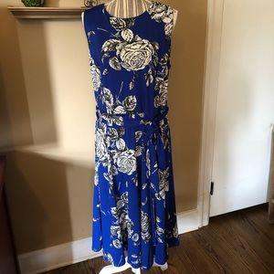 Shelby & Palmer blue print midi dress
